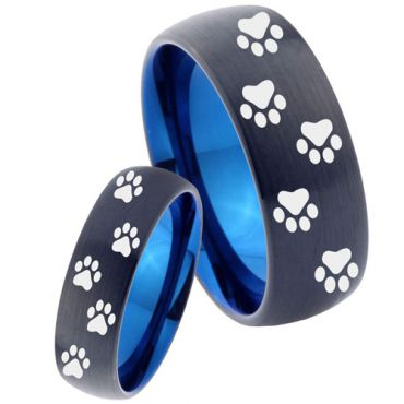COI Tungsten Carbide Black Blue Paws Track Dome Court Ring - TG4038