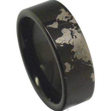 *COI Black Tungsten Carbide Map Pipe Cut Flat Ring-TG4040AA
