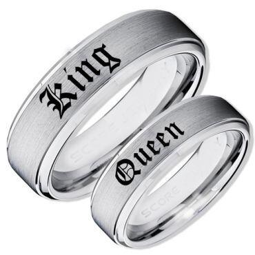COI Tungsten Carbide King Queen Step Edges Ring-TG4045AAA