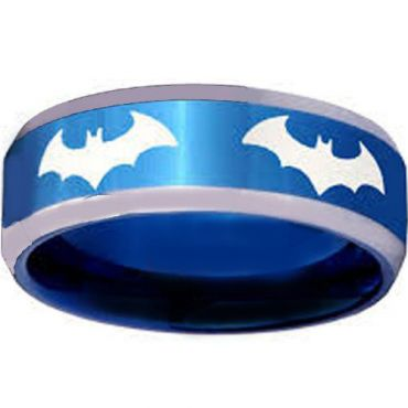 *COI Blue Tungsten Carbide Batman Beveled Edges Ring-TG3867