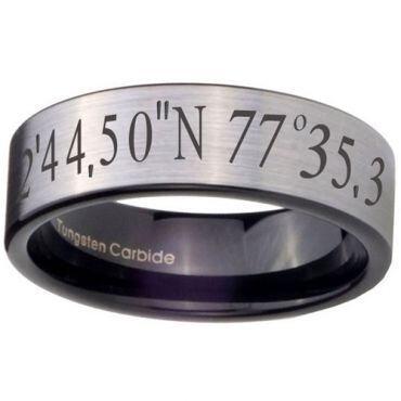COI Tungsten Carbide Custom Coordinate Pipe Cut Ring-TG4057