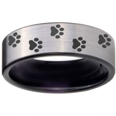 COI Tungsten Carbide Paws Print Pipe Cut Flat Ring-TG4058CC