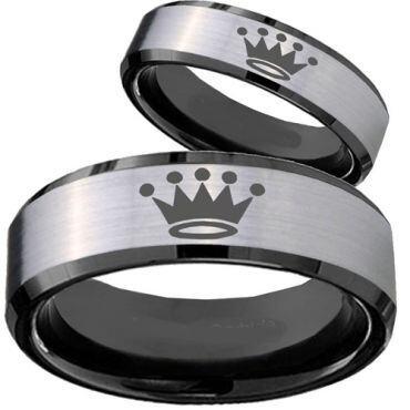 COI Tungsten Carbide King Crown Beveled Edges Ring-TG4074CC