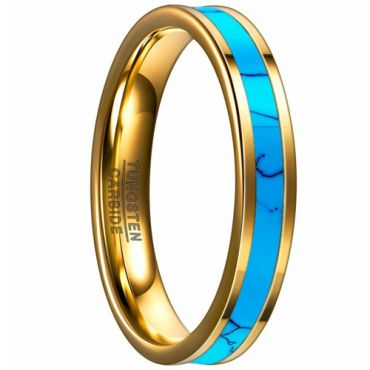 COI Gold Tone Tungsten Carbide Turquoise Flat Ring-TG4094B