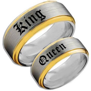 COI Tungsten Carbide Gold Tone Silver King Queen Ring-TG4107