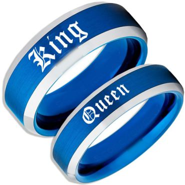 *COI Tungsten Carbide Blue Silver King Queen Ring-TG4168