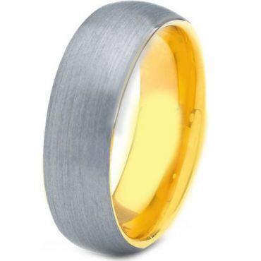 *COI Gold Tone Tungsten Carbide Dome Court Ring-TG4188
