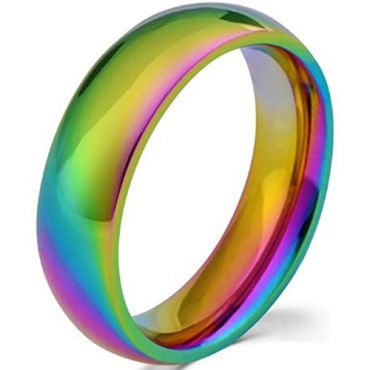 *COI Tungsten Carbide Rainbow Pride Dome Court Ring-TG4194
