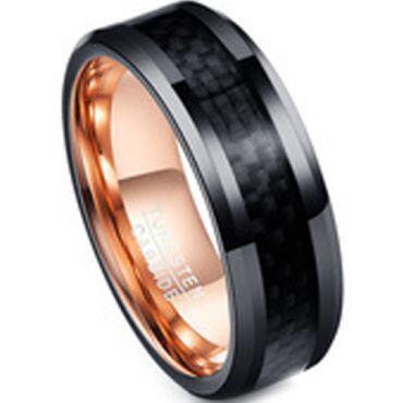 COI Tungsten Carbide Black Rose Ring With Carbon Fiber-TG4221A