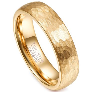 COI Gold Tone Tungsten Carbide Hammered Dome Court Ring-TG4252BB