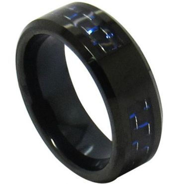 COI Black Tungsten Carbide Ring With Blue Carbon Fiber-TG4312