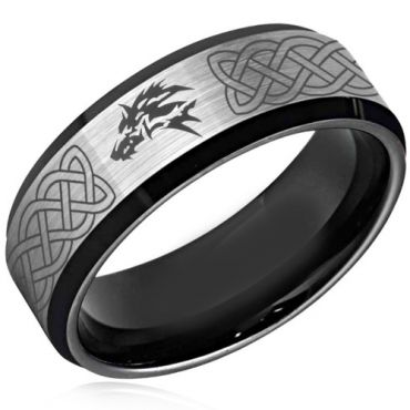 *COI Tungsten Carbide Wolf Celtic Beveled Edges Ring-TG4379