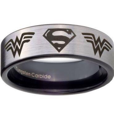 *COI Tungsten Carbide Superman & Wonder Woman Ring - TG4449