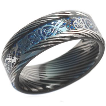 COI Black Blue Tungsten Carbide Dragon Damascus Ring-TG4472