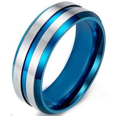 COI Tungsten Carbide Blue Silver Center Groove Ring - TG4476CC