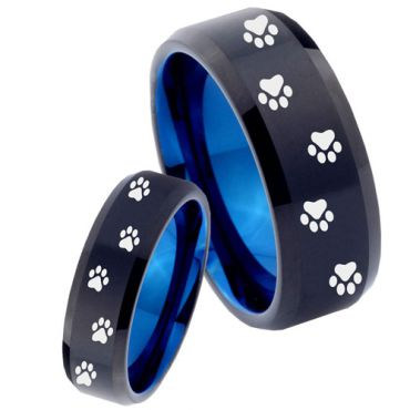 COI Tungsten Carbide Black Blue Paws Track Beveled Edges Ring-TG4480