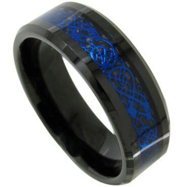 COI Black Blue Tungsten Carbide Dragon Beveled Edges Ring-TG4487