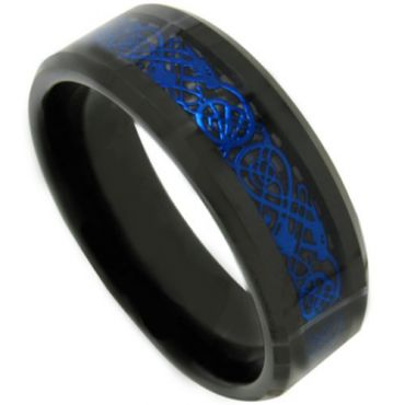 COI Black Blue Tungsten Carbide Dragon Beveled Edges Ring-TG4487
