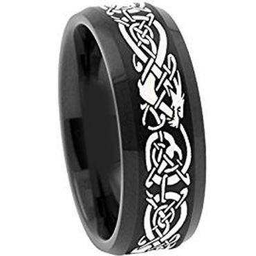 *COI Black Tungsten Carbide Dragon Beveled Edges Ring-TG4488AA