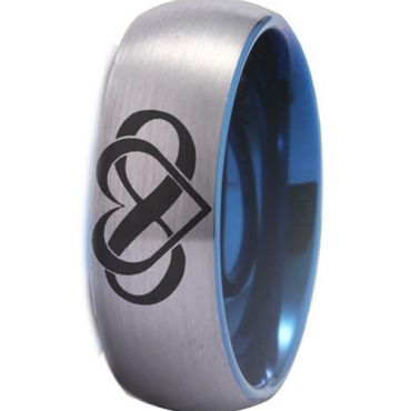*COI Tungsten Carbide Infinity Heart Dome Court Ring-TG4489CC