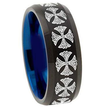 COI Tungsten Carbide Black Blue Cross Beveled Edges Ring-TG4516