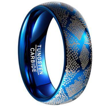 COI Blue Tungsten Carbide Dome Court Ring-TG4531