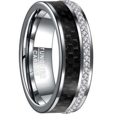 COI Tungsten Carbide Black Carbon Fiber & Zirconia Ring-TG4540B