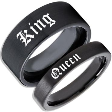 COI Black Tungsten Carbide King Queen Pipe Cut Flat Ring-TG4541B