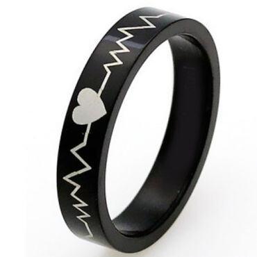 COI Black Tungsten Carbide Heartbeat & Heart Ring-TG4568CC