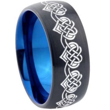COI Tungsten Carbide Black Blue Hearts Dome Court Ring-4575