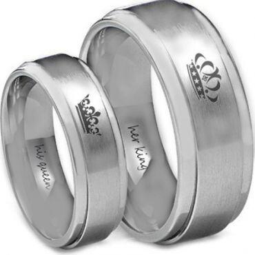 *COI Tungsten Carbide King Queen Crown Ring-TG4582