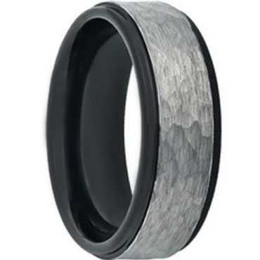 COI Tungsten Carbide Hammered Step Edges Ring-TG4598