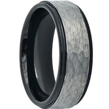 COI Tungsten Carbide Hammered Step Edges Ring-TG4598