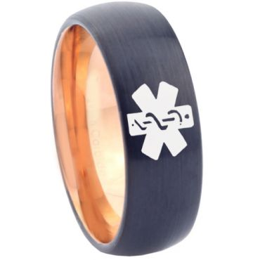 COI Tungsten Carbide Black Rose Medic Alert Ring - TG4630CC