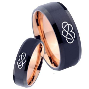 COI Tungsten Carbide Black Rose Infinity Heart Ring-TG4642