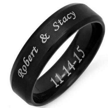 COI Black Tungsten Carbide Ring With Custom Names Engraving-TG4686