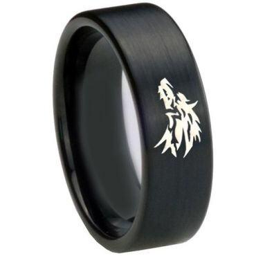 *COI Black Tungsten Carbide Wolf Pipe Cut Flat Ring - TG4688CC