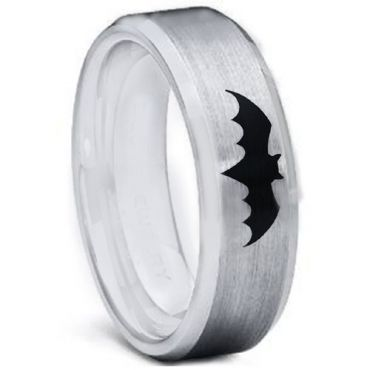 *COI Tungsten Carbide Batman Beveled Edges Ring-TG5001
