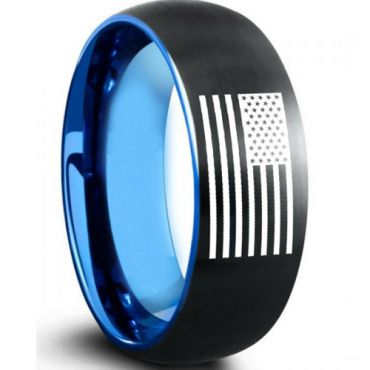 COI Tungsten Carbide Black Blue Ring With American Flag-TG5009