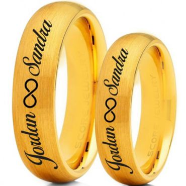 *COI Gold Tone Tungsten Carbide Ring With Custom Names Engraving-5016