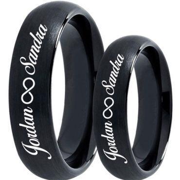 COI Black Tungsten Carbide Ring With Custom Names Engraving-TG5019
