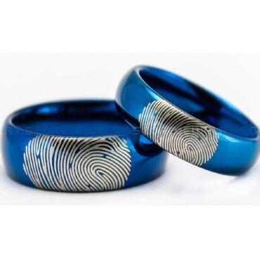 COI Blue Tungsten Carbide Ring With Custom Fingerprint-TG5021