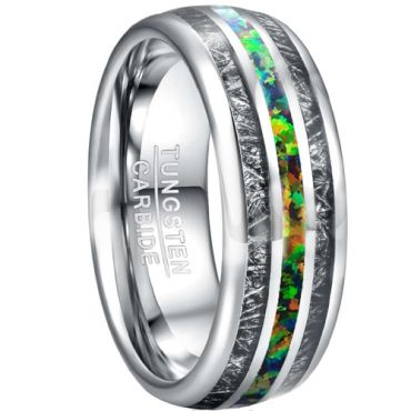 COI Tungsten Carbide Crushed Opal & Meteorite Dome Court Ring-TG5026