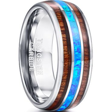 COI Tungsten Carbide Wood & Crushed Opal Dome Court Ring-TG5028
