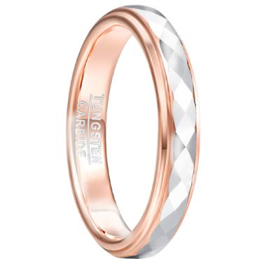 COI Tungsten Carbide Rose Silver Faceted Ring-TG5032