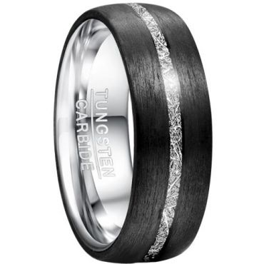 COI Tungsten Carbide Black Silver Meteorite Dome Ring-TG5034