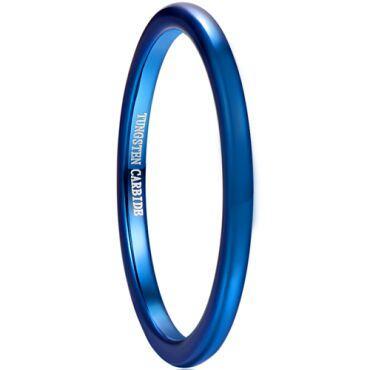 COI Blue Tungsten Carbide Dome Court Ring-TG5036