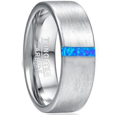 COI Tungsten Carbide Crushed Opal Pipe Cut Flat Ring-TG5037