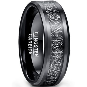 COI Black Tungsten Carbide Meteorite Beveled Edges Ring-TG5040