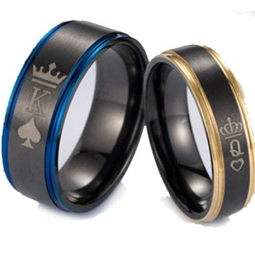 *COI Tungsten Carbide Black Rose/Blue King Queen Crown & Heart Ring-TG5053
